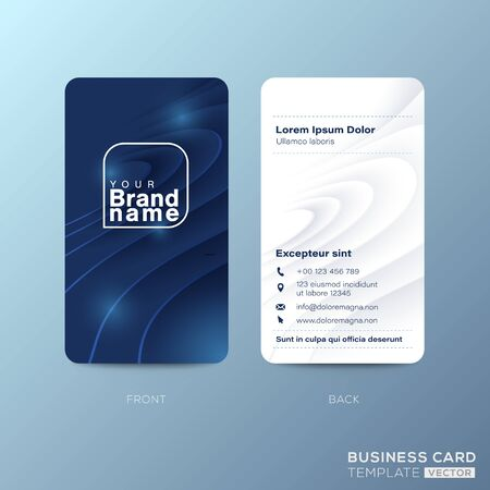 Vertical business card design with abstract nature blue curved shape background Ilustrace