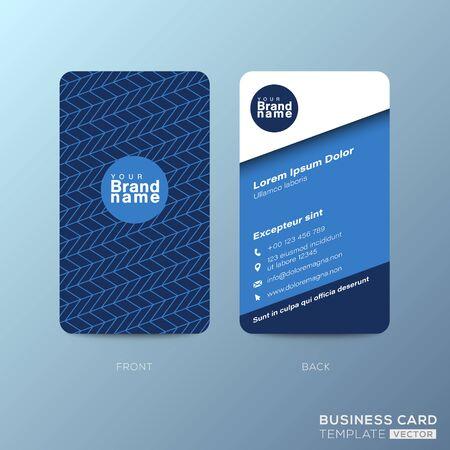Vertical business card design with zigzag line pattern on dark blue background