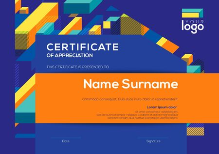 modern certificate of completion template with vibrant blue color abstract graphic background Ilustrace