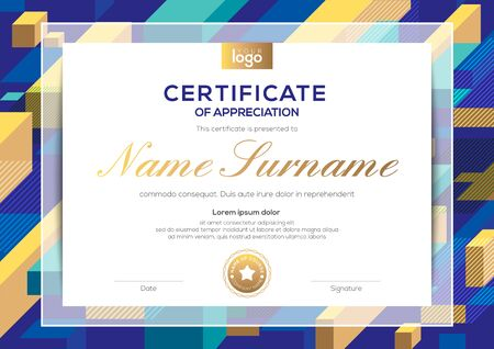 modern certificate of completion template with abstract cube shape graphic background Ilustrace