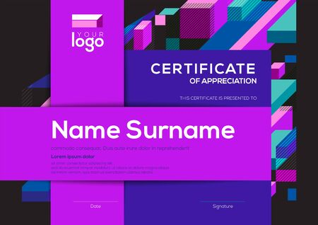modern certificate of completion template with vibrant blue and purple color abstract graphic background