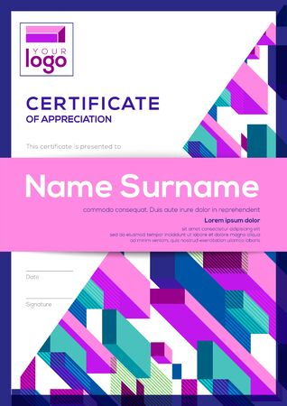 vertical modern certificate of completion template with abstract cube shape graphic background Ilustrace