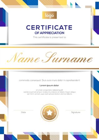 vertical modern luxury certificate of completion template with gold and blue abstract cube shape graphic background