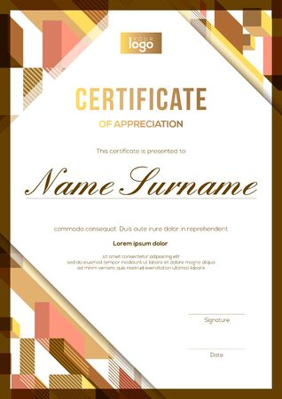 vertical modern luxury certificate of completion template with gold and brown abstract cube shape graphic background