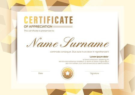 modern certificate of completion template with ivory abstract cube shape graphic background