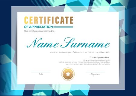 modern certificate of completion template with blue abstract cube shape graphic background Ilustrace