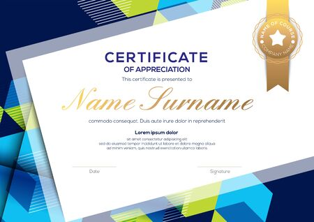 modern blue certificate of completion template with abstract graphic background Ilustrace