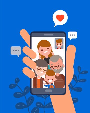Family time together illustration. man chatting with his family using video call app on smartphone. Human hand hold smartphone device. flat design vector cartoon characters.