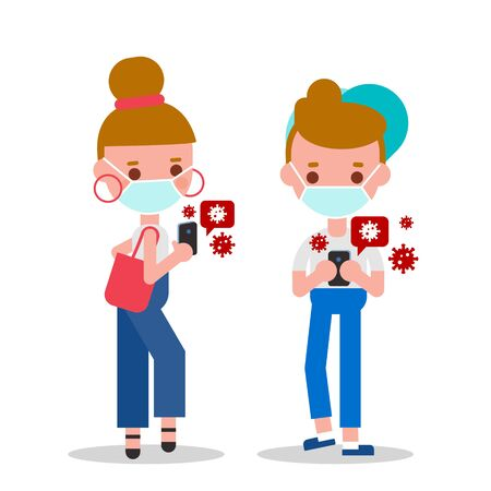 Young man and woman checking their smartphone for news about Covid-19 virus pandemic. Flat design style vector cartoon characters.