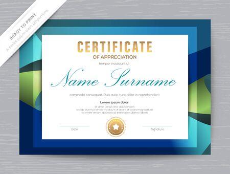 Certificate of Appreciation award diploma template. Dark blue background