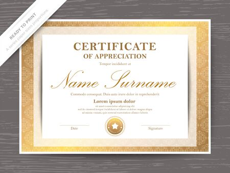 Certificate award diploma template with golden border and frame
