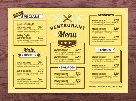 Yellow Restaurant menu template Vector Illustration