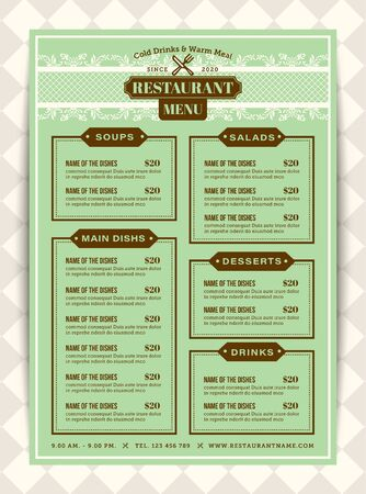 Classic Restaurant menu template with Mint green background color. Vertical layout