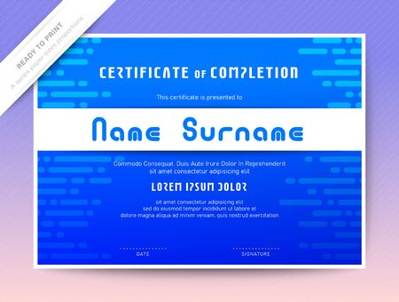 Blue Certificate of Completion template. Online Computer Programming Courses diploma.
