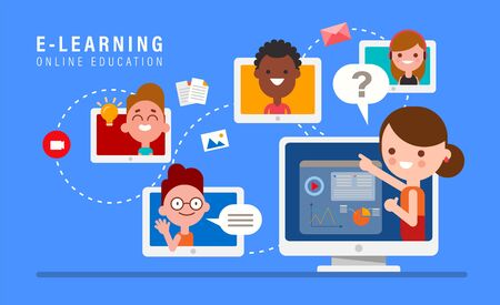 E-learning online education concept illustration. Online teacher on computer monitor. Kids studying at home via internet. vector cartoon in flat design style.