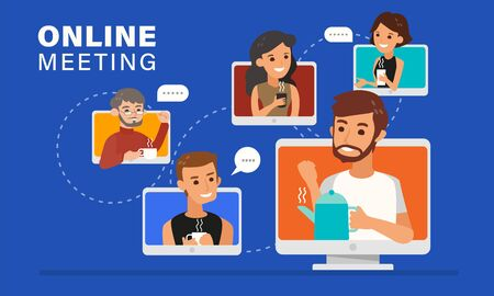 Casual online meeting with friends illustration. Relaxing young people holding a coffee cup and chatting via video conference call.