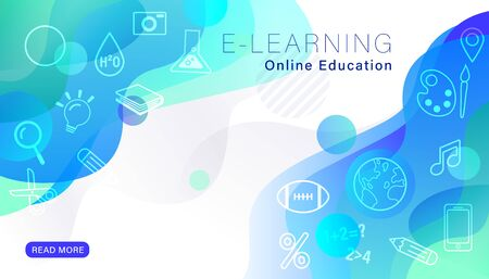 e-learning online education background with line icons and abstract blue fluid shape graphics. Ilustrace