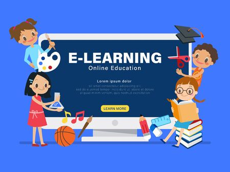 E-learning online education concept illustration. Group of children with learning activities. Kids studying at home via internet. vector cartoon in flat design style. Ilustrace