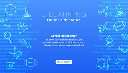 e-learning online education with line icons on abstract blue background.