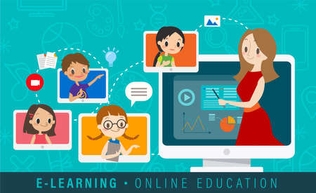E-learning online education concept illustration. Online teacher on computer monitor. Kids studying at home via internet. vector cartoon. Ilustrace