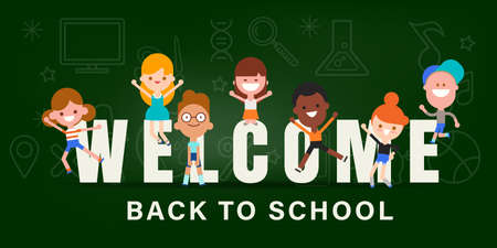 Kids back to school chalkboard banner background vector illustration