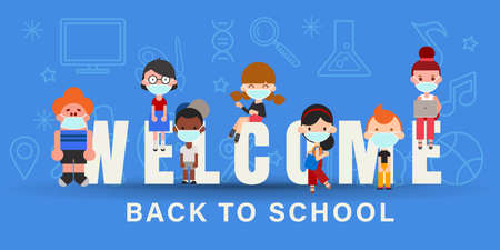 Kids wearing face mask during Covid-19 pandemic. Back to school banner background vector illustration