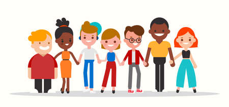 Group of diverse people holding hands together illustration. Flat design cartoon characters. Ilustrace