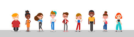 Group of diverse people standing together illustration. Flat design cartoon characters.