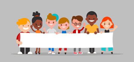 Group of diverse people holding blank white banner together illustration. Flat design cartoon characters.