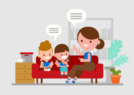 Mother teaching her children. Kids doing homework with parent. Flat style vector illustration.