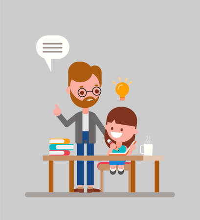 Father helping her daughter with homework. Kid doing homework with parent. Flat style vector illustration. Ilustrace