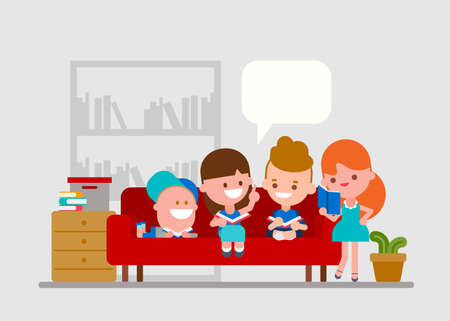 Doing homework with friends. Kids spending time together studying at home. children reading books together. Flat style vector illustration. Ilustrace