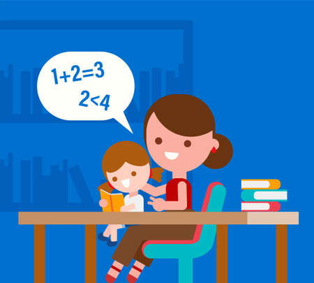 Mother teaching basic math to her little daughter. Kid learning basic mathematics with parent. Flat style vector illustration.