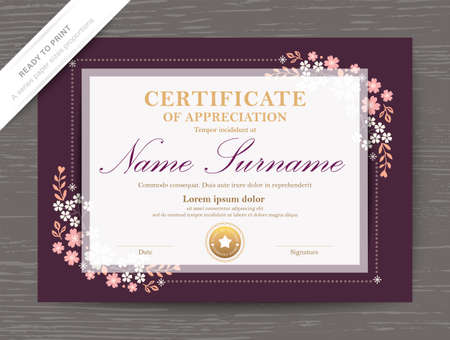 Certificate award diploma template with classic vintage floral corner border and frame