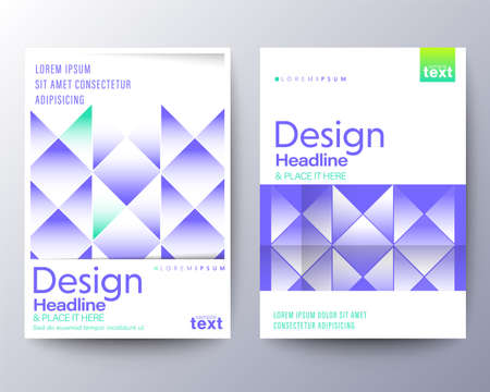 Flyer, Poster, leaflet Graphic Design Layout template with abstract geometric purple blue background.