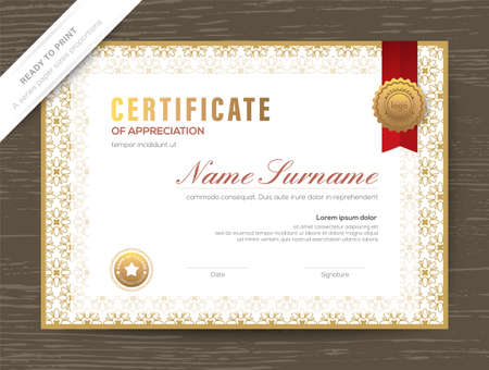 Gold Certificate award diploma template with classic floral border and frame