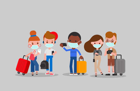 Tourists wearing face masks illustration. Flat design cartoon characters.
