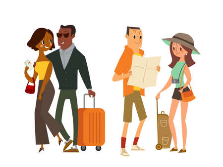 Couple tourist traveler with map and luggage. Isolated vector cartoon illustration.