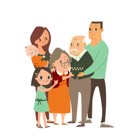 Happy family hugging each other. Several generations, grandparents, parents with children, grandchildren. vector cartoon character illustration.