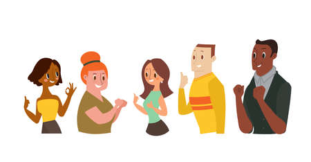 Smiling Man and Women Gesturing Ok Sign, Showing Thumb Up. Vector cartoon illustration