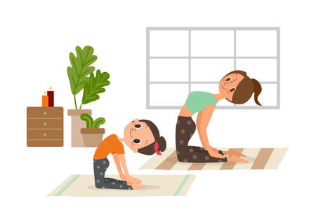 Mother and daughter, woman and child girl doing yoga exercises. vector catoon illustration.