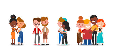 LGBTQ community. Set of diverse people. Men and women. Flat design vector cartoon characters illustration.