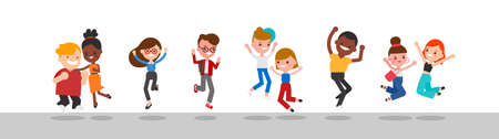 Diverse group of happy people jumping. Cheerful multinational and multiracial people celebrating together. Flat design vector cartoon characters illustration. Ilustrace