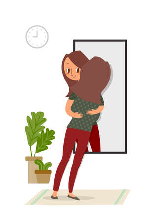 Self-acceptance, Woman hugging with her reflection in the mirror, self care concept illustration.