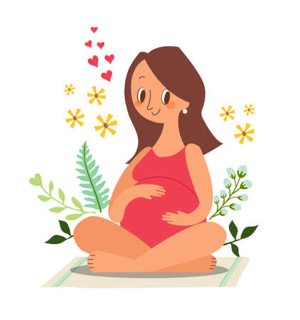 Pregnant woman sitting and touching her big belly. Vector cartoon character illustration.