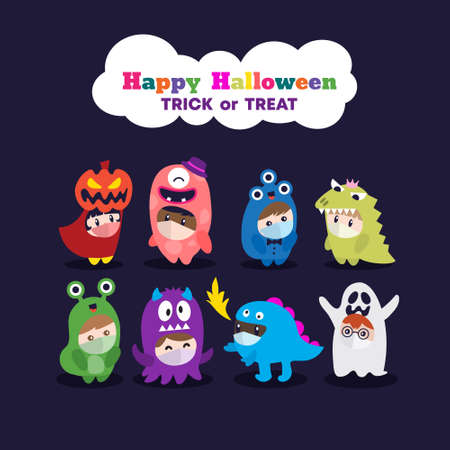 Kids in Halloween costume wearing face mask. Celebrate Halloween party during Covid-19 pandemic. Vector cartoon character illustration. Ilustrace