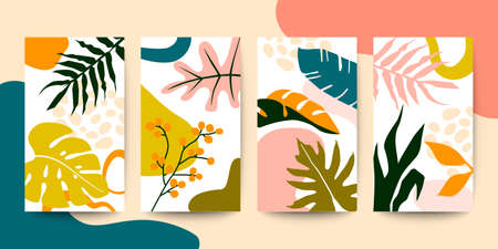 Set of abstract colorful floral art leaves on white vertical background. Vector illustration
