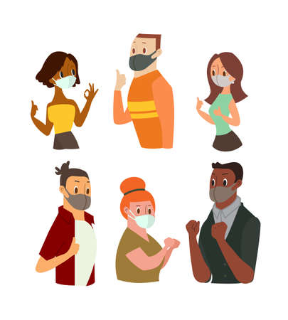 Man and Women wearing face mask gesturing Ok Sign, Showing Thumb Up. Vector cartoon illustration Ilustrace