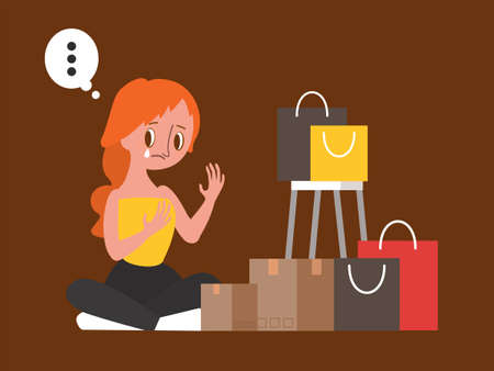 Retail Therapy, Shopaholic, compulsive spender concept illustration. Sad woman sitting with her shopping bags. Ilustrace