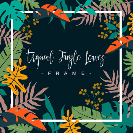Frame of colorful tropical jungle leaves on dark background. vector illustration.